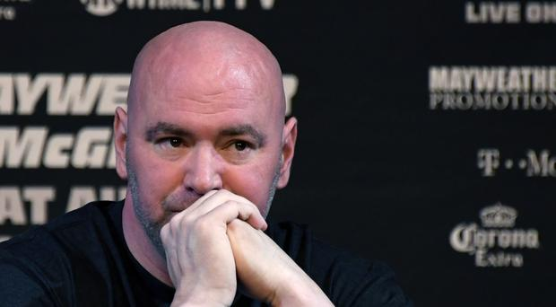 UFC President Dana White attends a news conference for the bout between boxer Floyd Mayweather Jr. and UFC lightweight champion Conor McGregor at the KA Theatre at MGM Grand Hotel & Casino on August 23, 2017 in Las Vegas, Nevada. Mayweather and McGregor will meet in a super welterweight boxing match at T-Mobile Arena on August 26 in Las Vegas. (Photo by Ethan Miller/Getty Images)