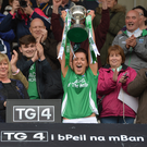 Aine McGovern of Fermanagh holds aloft the All Ireland Junior cup after the TG4 Ladies Football All-Ireland Junior Championship Final Replay between Derry and Fermanagh at St Tiernach's Park in Clones, Co Monaghan. Photo by Oliver McVeigh/Sportsfile