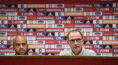 Republic of Ireland manager Martin O'Neill, right, with goalkeeper Darren Randolph during a press conference at Cardiff City Stadium in Cardiff, Wales. Photo by Stephen McCarthy/Sportsfile