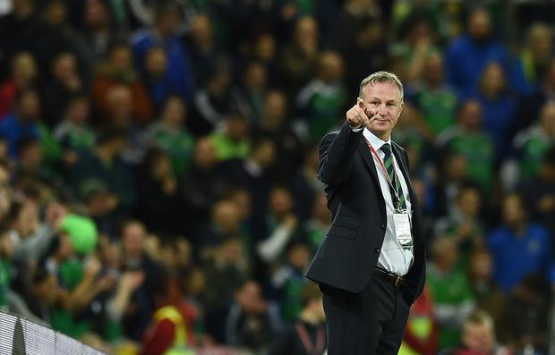 Northern Ireland manager Michael O'Neill during the FIFA 2018 World Cup Qualifier between Northern Ireland and Germany at Windsor Park on October 5, 2017 in Belfast, Northern Ireland. (Photo by Charles McQuillan/Getty Images)