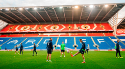 Jeff Hendrick, right, and David Meyler training on Cardiff City Stadium's the pitch yesterday. Photo: Stephen McCarthy/Sportsfile