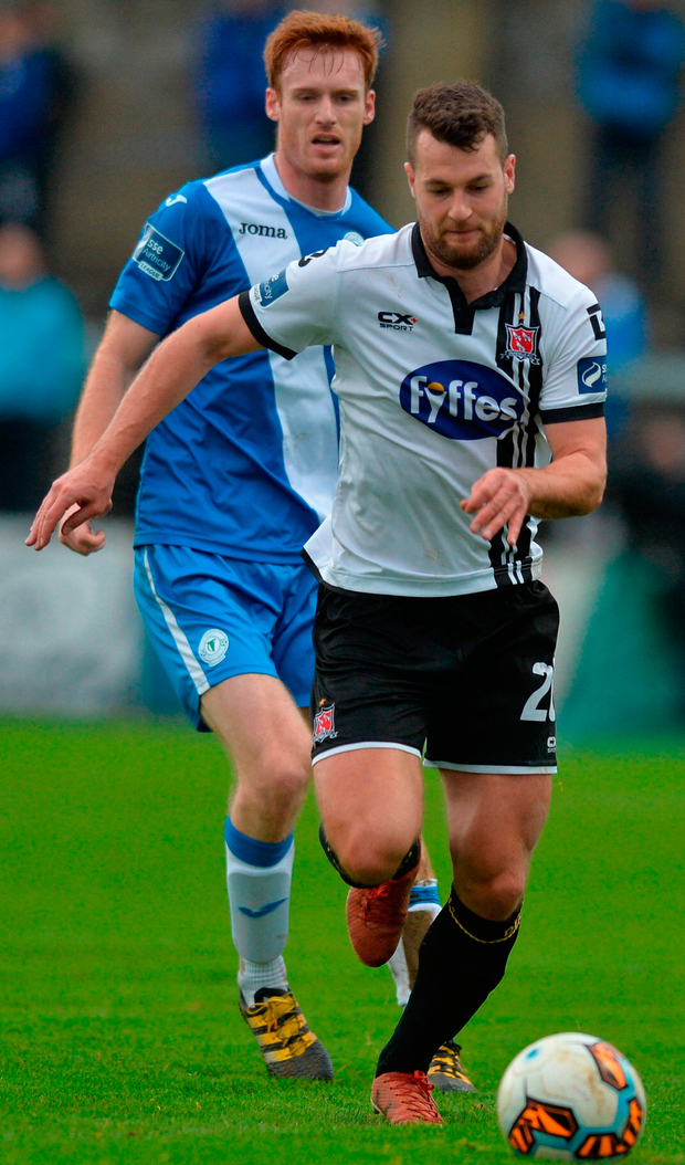 Dundalk's Thomas Stewart in action against Sean Houston of Finn Harps. Photo: Oliver McVeigh/Sportsfile
