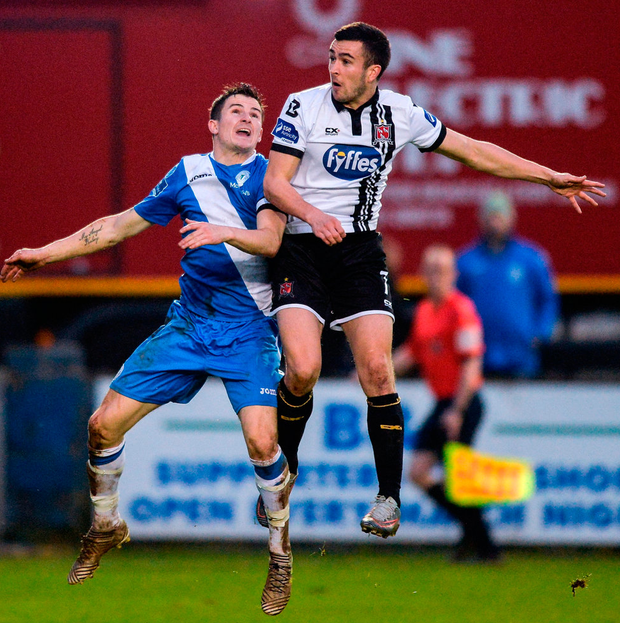 Dundalk's Michael Duffy and Gareth Harkin of Finn Harps battle for the ball. Photo: Oliver McVeigh/Sportsfile