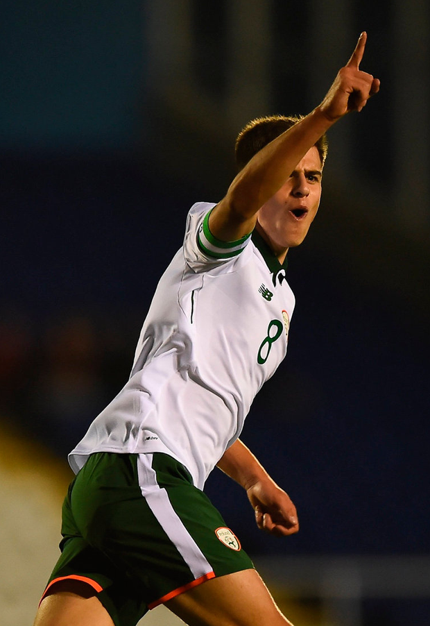 Jason Molumbycelebrates after scoring Ireland's second goal of the game during the UEFA European U19 Championship Qualifier against Cyprus. Photo: Seb Daly/Sportsfile