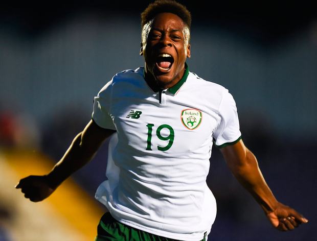 Jonathan Afolabi celebrates after scoring Ireland's first goal in the U-19 European Championship qualifier against Cyprus at the Regional Sports Centre in Waterford. Photo: Seb Daly/Sportsfile