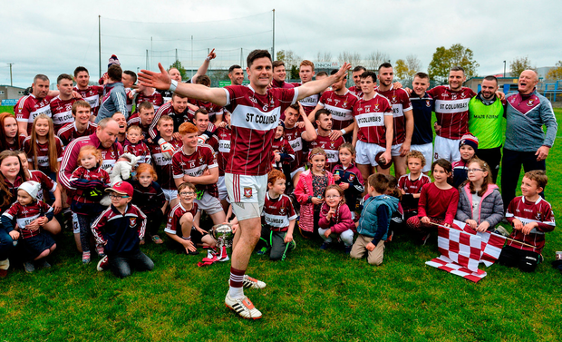 Mullinalaghta captain Shane Mulligan leads the celebrations after their Longford final win. Photo by Piaras Ó Mídheach/Sportsfile