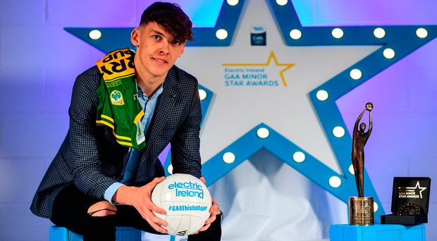 Clifford collected the Electric Ireland Minor Star Footballer of the Year award at Croke Park. Photo by Sam Barnes/Sportsfile