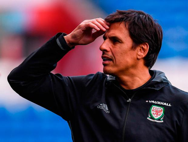 Chris Coleman in thoughtful mood during Wales' training session in Cardiff yesterday. Photo: Stephen McCarthy/Sportsfile