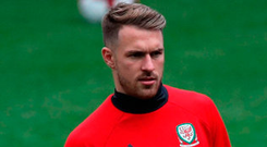 Wales' Aaron Ramsey during training at the Cardiff City Stadium yesterday. Photo : Nick Potts/PA