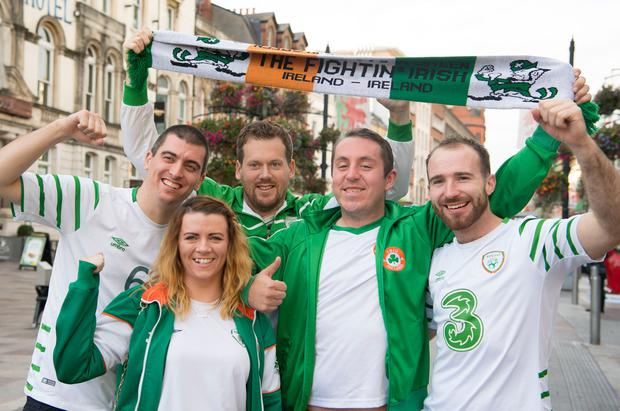 Ireland fans Keith Flynn, Laura Carroll, Peter Byrne, Eunan Bonar and Liam Nicholas all in Cardiff for the big match. Photos: Matthew Horwood