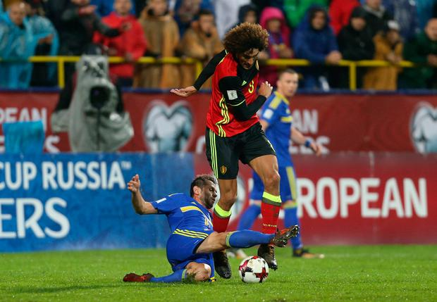 Belgium's Marouane Fellaini in action against Bosnia. Photo: REUTERS/Dado Ruvic