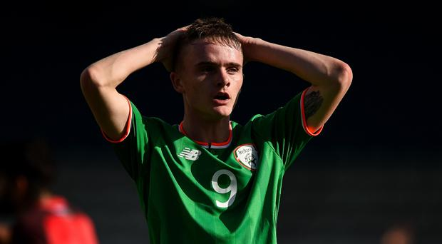 Thomas Byrne reacts during last week's 0-0 draw with Azerbaijan