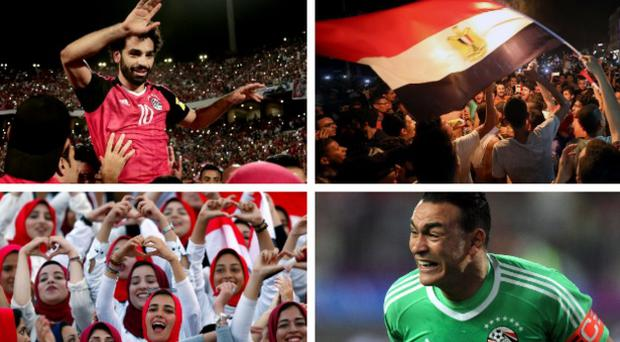 Mohamed Salah (top left) scored twice on Sunday to secure Egypt's place in next summer's finals where goalkeeper Essam El Hadary (bottom right) could become to oldest ever player at a World Cup CREDIT: REUTERS / GETTY IMAGES / AP