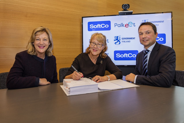 Susan Spence, Co-Founder, SoftCo, Pirjo Poyhia, MD Palkeet, and Anton Scott, CEO, SoftCo.