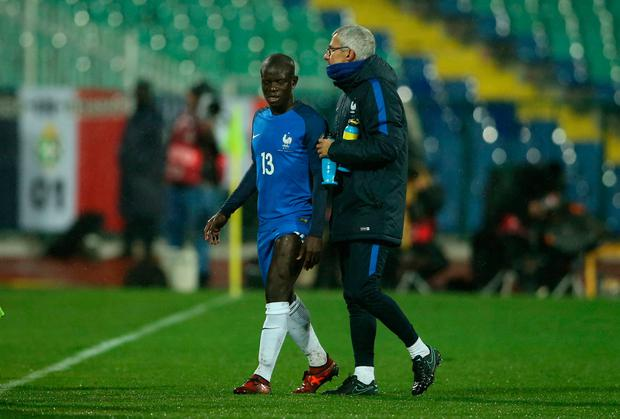 France's N'Golo Kante is substituted off after sustaining an injury. REUTERS/Marko Djurica