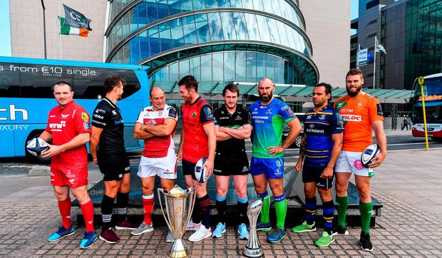 In attendance at the European Rugby Champions Cup and Challenge Cup 2017/18 season launch for PRO14 clubs at the Convention Centre in Dublin, from left, Ken Owens of Scarlets, Ashley Back of Ospreys, Rory Best of Ulster, Peter O'Mahony of Munster, Stuart Hogg of Glasgow Warriors, John Muldoon of Connacht, Isa Nacewa of Leinster and Dean Budd of Benetton Rugby. Photo by Brendan Moran/Sportsfile