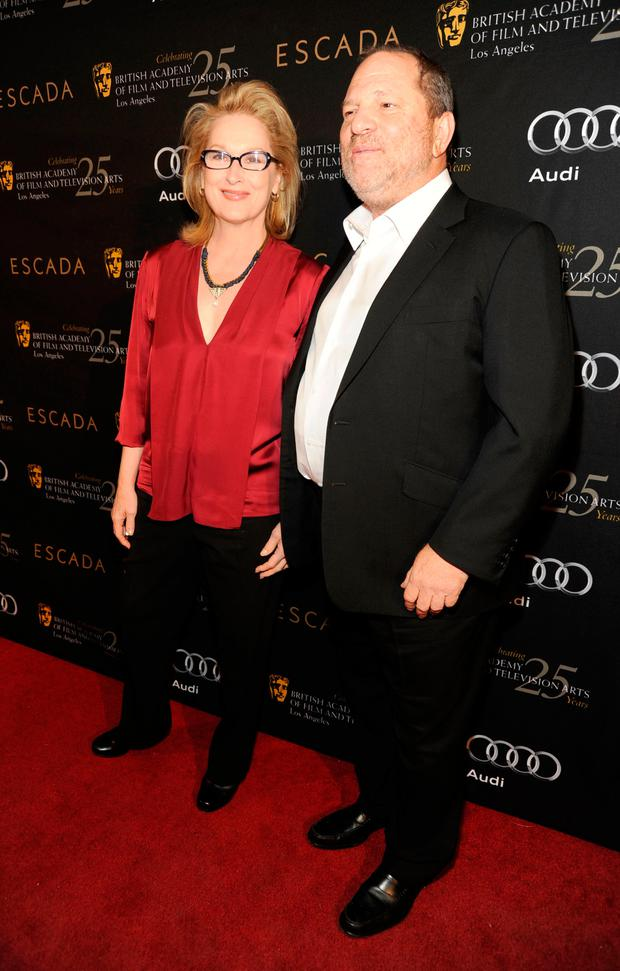 Actress Meryl streep and producer Harvey Weinstein attend BAFTA Los Angeles' 18th annual Awards Season Tea Party held at Four Seasons Hotel Los Angeles at Beverly Hills on January 14, 2012 in Beverly Hills, California. (Photo by Frazer Harrison/Getty Images For BAFTA Los Angeles)