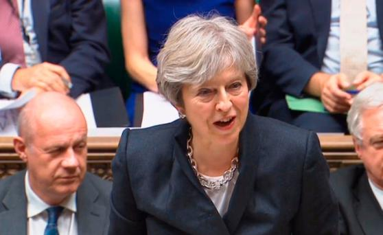 Prime Minister Theresa May updates MPs ion the House of Commons, London on the Brexit negotiations since her Florence speech last month. PA Wire