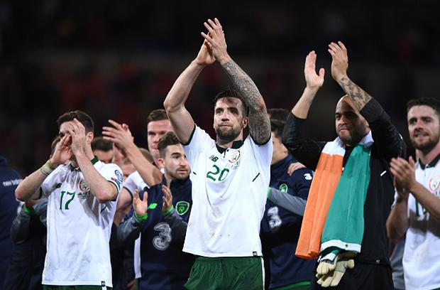 Shane Duffy of Republic of Ireland celebrates following his side's victory during the FIFA World Cup Qualifier Group D match between Wales and Republic of Ireland at Cardiff City Stadium in Cardiff, Wales. (Photo By Stephen McCarthy/Sportsfile via Getty Images)