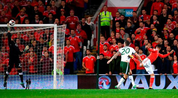 Darren Randolph makes a crucial save to deny Hal Robson-Kanu at 0-0 during the second-half of Ireland's victory against Wales. Photo: STEPHEN MCCARTHY/SPORTSFILE