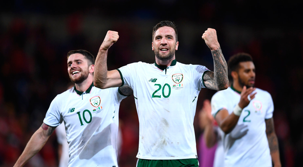 9 October 2017; Shane Duffy of Republic of Ireland celebrates following his side's victory during the FIFA World Cup Qualifier Group D match between Wales and Republic of Ireland at Cardiff City Stadium in Cardiff, Wales. Photo by Stephen McCarthy/Sportsfile
