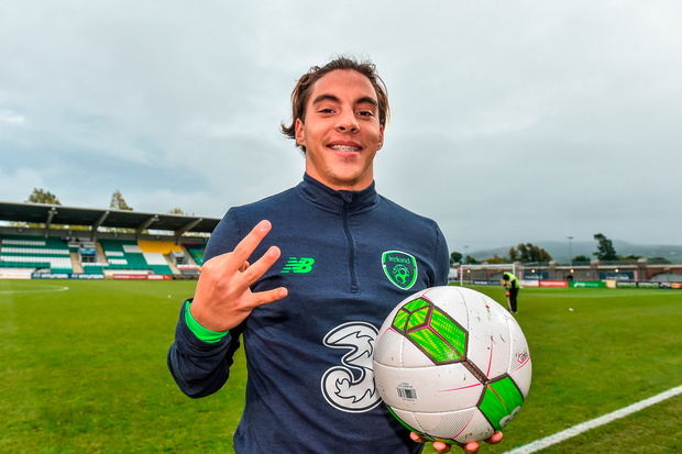 Reece Grego-Cox of Republic of Ireland with the match ball after his hatrick against Israel. Photo: Sportsfile