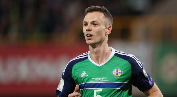 Jonny Evans of Northern Ireland in action during the FIFA 2018 World Cup Qualifier between Northern Ireland and Germany at Windsor Park on October 5, 2017 in Belfast, Northern Ireland. (Photo by Matthew Ashton - AMA/Getty Images)