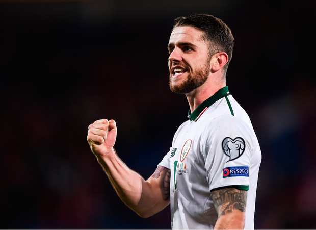 9 October 2017; Robbie Brady of Republic of Ireland celebrates following his side's victory during the FIFA World Cup Qualifier Group D match between Wales and Republic of Ireland at Cardiff City Stadium in Cardiff, Wales. Photo by Seb Daly/Sportsfile