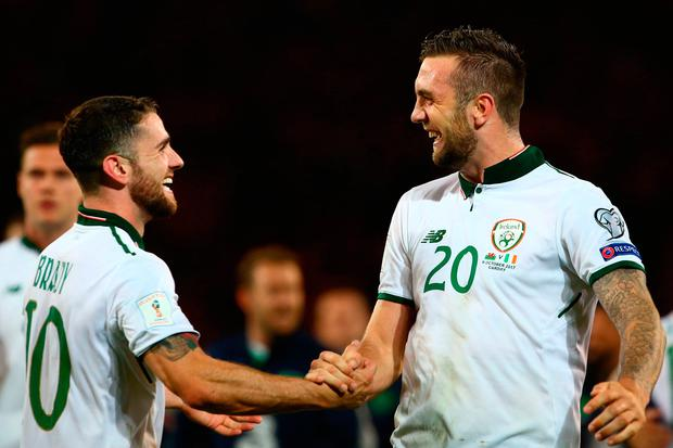 Republic of Ireland players Shane Duffy (R) and Robbie Brady celebrate. Photo: Getty Images