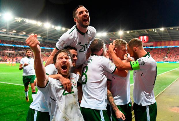 James McClean, second from right, celebrates with his Ireland team-mates after scoring the only goal of last night's World Cup qualifier in Cardiff. Photo: STEPHEN MCCARTHY/SPORTSFILE