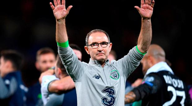 Republic of Ireland manager Martin O'Neill celebrates following his side's victory during the FIFA World Cup Qualifier Group D match between Wales and Republic of Ireland at Cardiff City Stadium in Cardiff, Wales. Photo by Stephen McCarthy/Sportsfile
