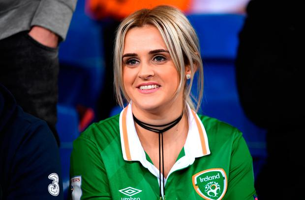 Erin McClean, wife of James McClean, prior to the FIFA World Cup Qualifier Group D match between Wales and Republic of Ireland at Cardiff City Stadium in Cardiff, Wales. Picture: Stephen McCarthy/Sportsfile