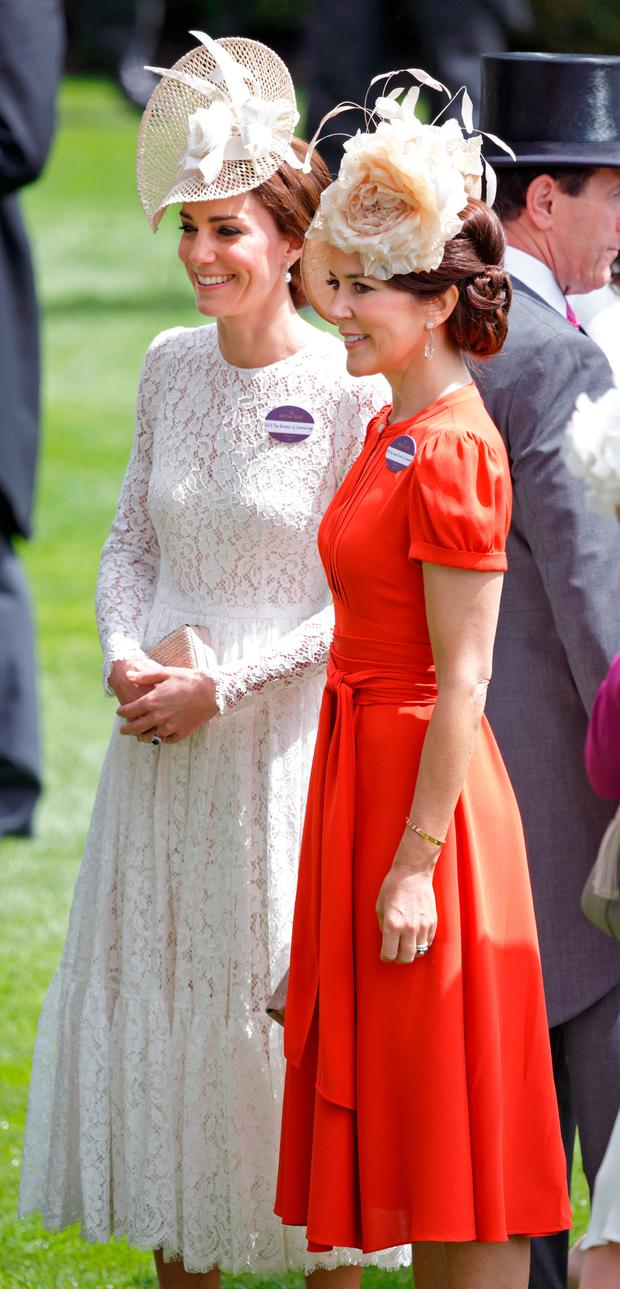 Catherine, Duchess of Cambridge and Crown Princess Mary of Denmark attend day 2 of Royal Ascot at Ascot Racecourse on June 15, 2016 in Ascot, England. (Photo by Max Mumby/Indigo/Getty Images)