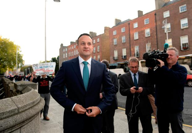 Taoiseach Leo Varadkar arriving at Government buildings on Budget Day 2017 Picture: Caroline Quinn