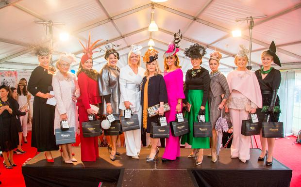 Finalists at the Limerick Racecourse Keanes Most Stylish Lady competition lined out with judge Sinead O'Brien, far left. Picture: Alan Place
