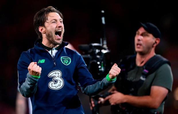 9 October 2017; Harry Arter of Republic of Ireland celebrates following his side's victory during the FIFA World Cup Qualifier Group D match between Wales and Republic of Ireland at Cardiff City Stadium in Cardiff, Wales. Photo by Seb Daly/Sportsfile