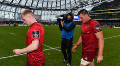 7 October 2017; Munster's Keith Earls, left, and CJ Stander following their defeat in the Guinness PRO14 Round 6 match between Leinster and Munster at the Aviva Stadium in Dublin. Photo by Ramsey Cardy/Sportsfile