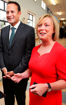 Minister for Employment and Social Protection Regina Doherty pictured alongside Taoiseach Leo Varadkar at Stanhope Street Primary School. Photo: Steve Humphreys