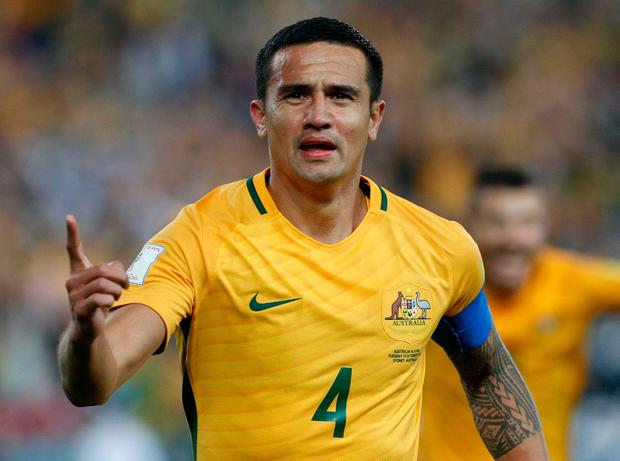 Soccer Football - 2018 World Cup Qualifications - Asia - Syria vs Australia - Olympic Stadium, Sydney, Australia - October 10, 2017 - Australia's Tim Cahill celebrates after scoring the winning goal. REUTERS/Steve Christo