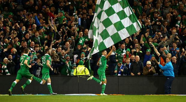 Jon Walters #14 of the Republic of Ireland celebrates after scoring the opening goal from the penalty spot during the UEFA EURO 2016 Qualifier play off, second leg match between Republic of Ireland and Bosnia and Herzegovina at the Aviva Stadium on November 16, 2015 in Dublin, Ireland. (Photo by Ian Walton/Getty Images)