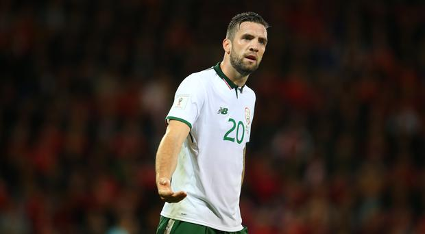 Shane Duffy of Republic of Ireland during the FIFA 2018 World Cup Qualifier between Wales and Republic of Ireland at Cardiff City Stadium on October 9, 2017 in Cardiff, Wales. (Photo by Catherine Ivill - AMA/Getty Images)