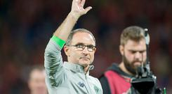 Martin O'Neill Coach of Ireland celebrates during the FIFA World Cup 2018 Qualifying Round Group D match between Wales and Republic of Ireland at Cardiff City Stadium in Cardiff, Wales, United Kingdom on October 9, 2017 (Photo by Andrew Surma/NurPhoto via Getty Images)