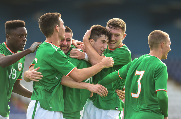 Neil Farrugia of Republic of Ireland is congratulated by his team-mates after scoring his sides second goal against Serbia during the UEFA European U19 Championship Qualifier match between Republic of Ireland and Serbia at RSC in Waterford. Photo by Matt Browne/Sportsfile