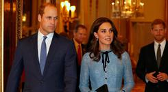Britain's Prince William, Duke of Cambridge, Catherine Duchess of Cambridge and Prince Harry celebrate World Mental Health Day at Buckingham Palace in London Photo: Reuters/ Heathcliff O'Malley/Pool
