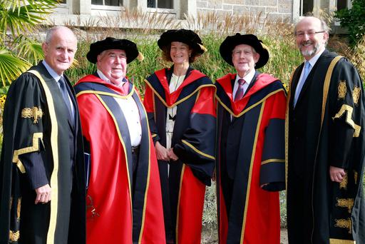 Prof John Coolahan (second left), Sonia O'Sullivan and Labhrás Ó Murchú, who were recently awarded honourary doctorates by DCU for outstanding contributions to education, sport, culture and music, with (on left) DCU chancellor, Dr Martin McAleese and DCU President, Prof Brian McCraith. Photo: Nick Bradshaw
