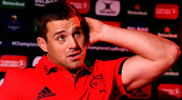 CJ Stander in pensive mood during a press conference at University of Limerick yesterday. Photo: Sportsfile