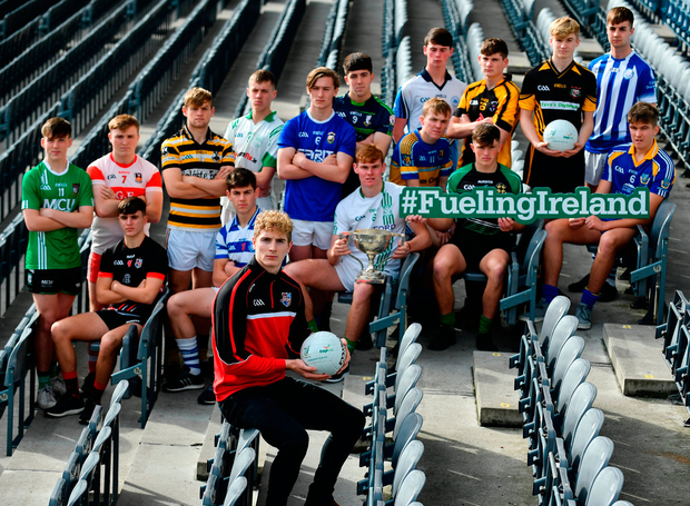 Kildare's Daniel Flynn in Croke Park yesterday for the launch of the Top Oil Leinster Schools SF 'A' Championship with representatives of schools who will be participating for the Br Bosco Cup. Photo: Sportsfile