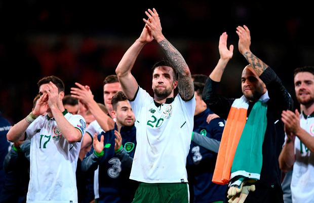 Shane Duffy leads the celebrations in Cardiff on Monday night. Photo: Stephen McCarthy/Sportsfile