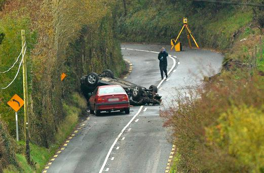 The scene where a 21-year-old man was killed and a number of people were injured in a collision near Dunmore, Co Galway. Photo: Ray Ryan