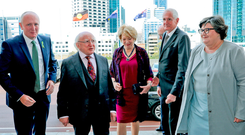 President Higgins and his wife Sabina arrive at Western Australia's Houses of Parliament in Perth. From left, Stephen Dawson, Minister for the Environment and Disability services; the Speaker, Peter Watson; and the president of the Legislative Council, Kate Doust. Photo: Maxwells